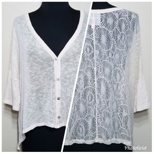Romeo & Juliet Couture Lace Back Cardigan Sweater